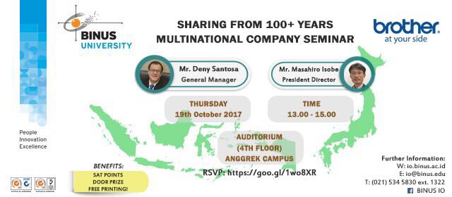 """Sharing from 100+ Years Multinational Company"" to Bina Nusantara University"