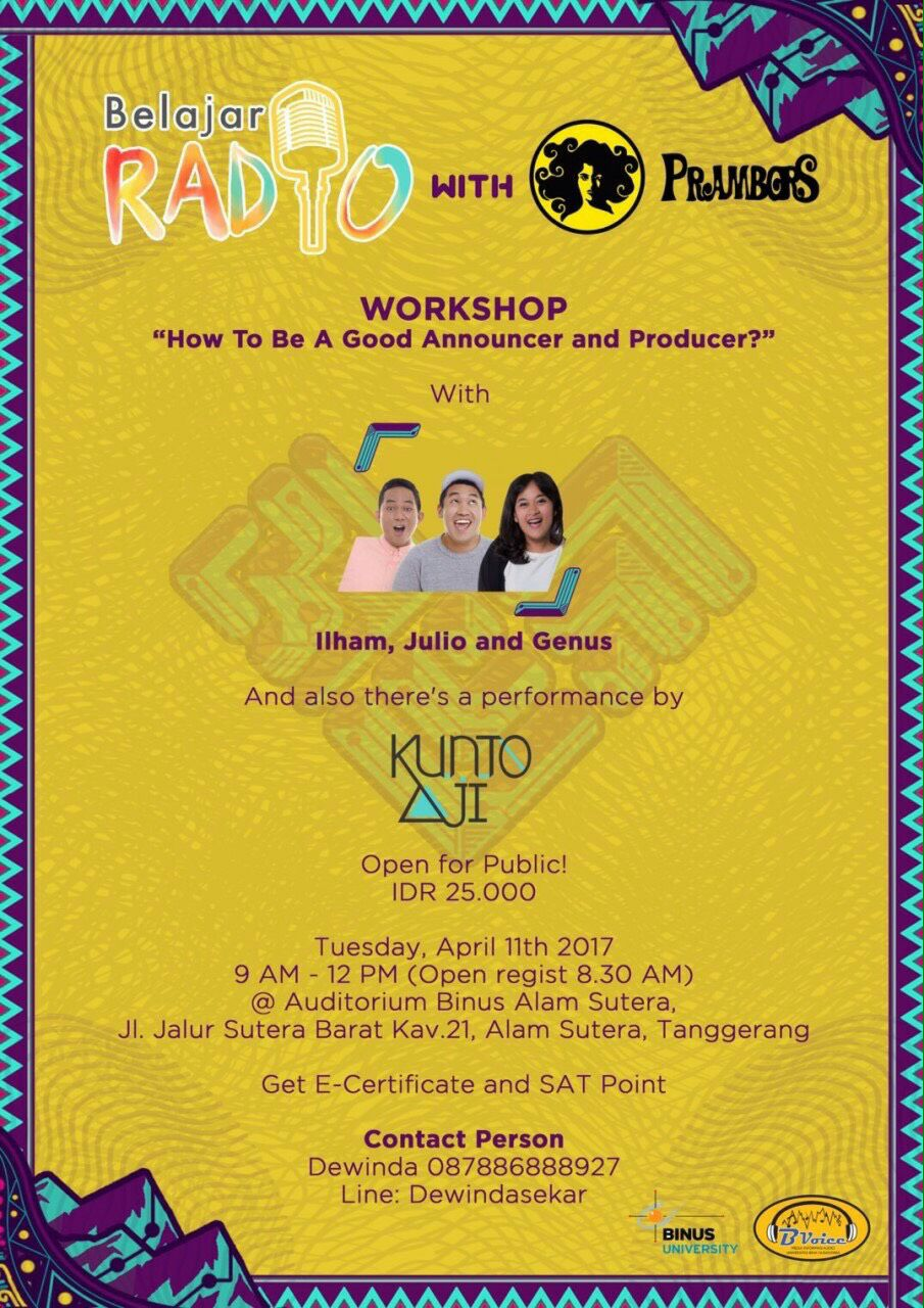 Bspeak x Prambors Radio Broadcasting Workshop