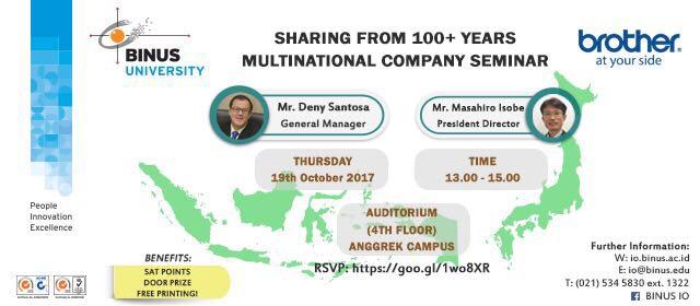 """Sharing from 100+ Years Multinational Company"" to Bina Nusantara University"